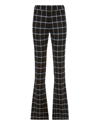 Box Grid Flare Trousers, BLACK, hi-res