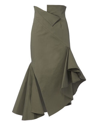 Cotton Twill Skirt, GREEN, hi-res