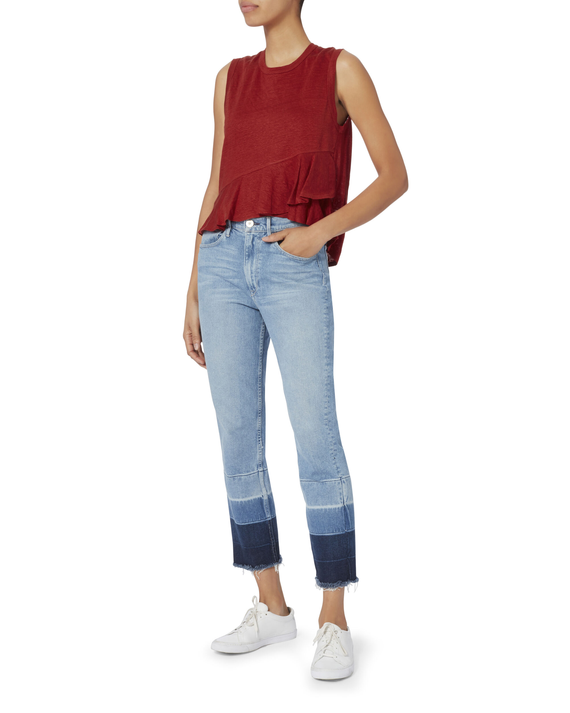 Braxton Ruffle Front Tank, RED, hi-res