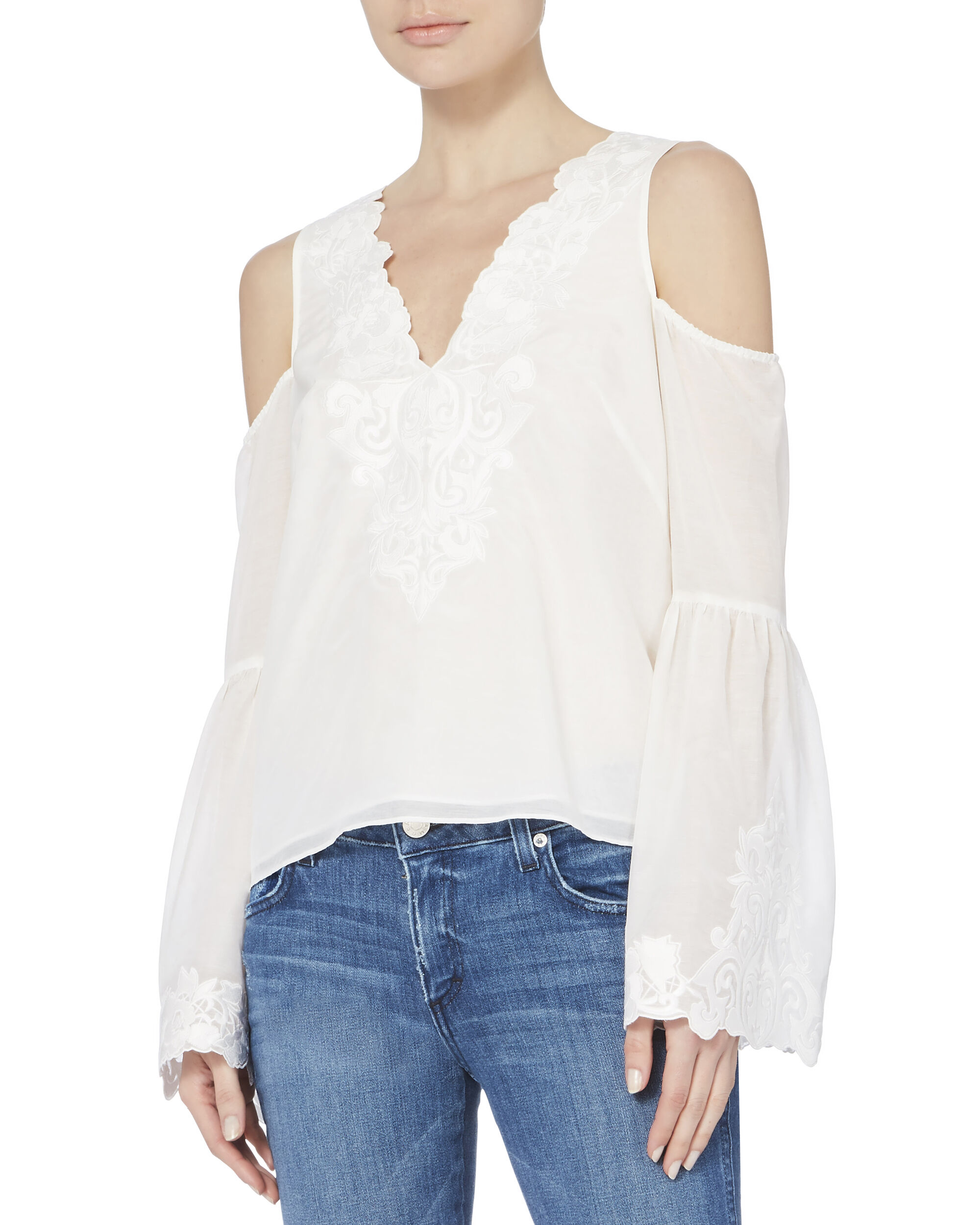 Cambria Lace Detail Top, WHITE, hi-res
