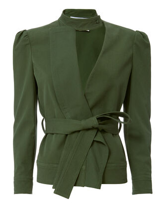 Ruffle Twill Belted Jacket, GREEN, hi-res
