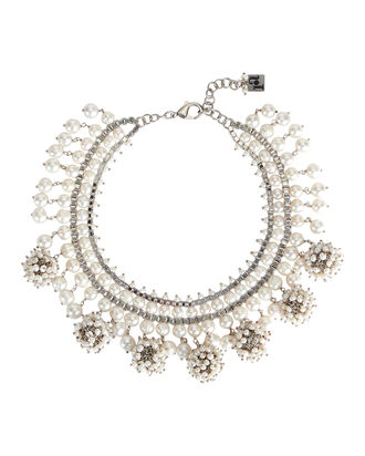 Suono Cluster Necklace, WHITE, hi-res