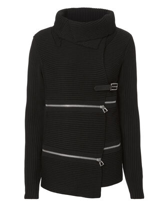 Zip Detail Belted Sweater Jacket, BLACK, hi-res