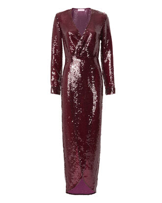 Sequin Wrap Dress, RED, hi-res