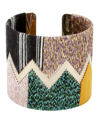 Lurex Chevron Cuff, GREEN, hi-res