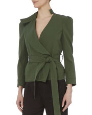 Ruffle Twill Belted Jacket, EMERALD, hi-res