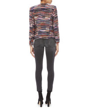Multicolor Collarless Jacket, MULTI, hi-res