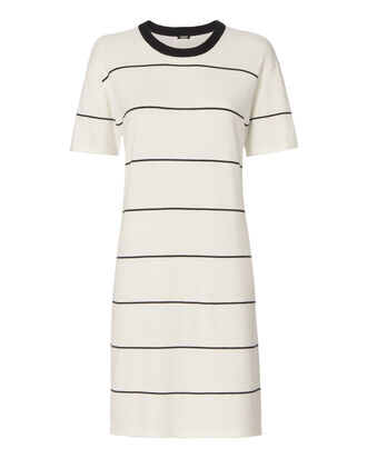 Athletic Knit T-Shirt Striped Dress, PATTERN, hi-res