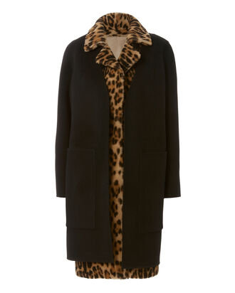 Leopard Vest And Wool Coat Combo, BLACK, hi-res