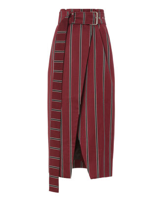 Apolline Belted Stripe Wrap Skirt, RED, hi-res