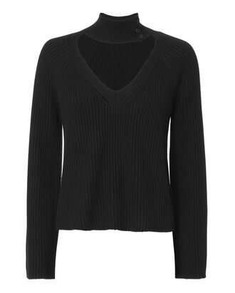 Akira Choker Neck Black Sweater, BLACK, hi-res