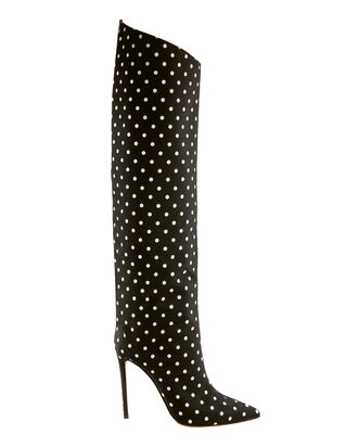 Polka Dot Stiletto Boots, BLK/WHT, hi-res