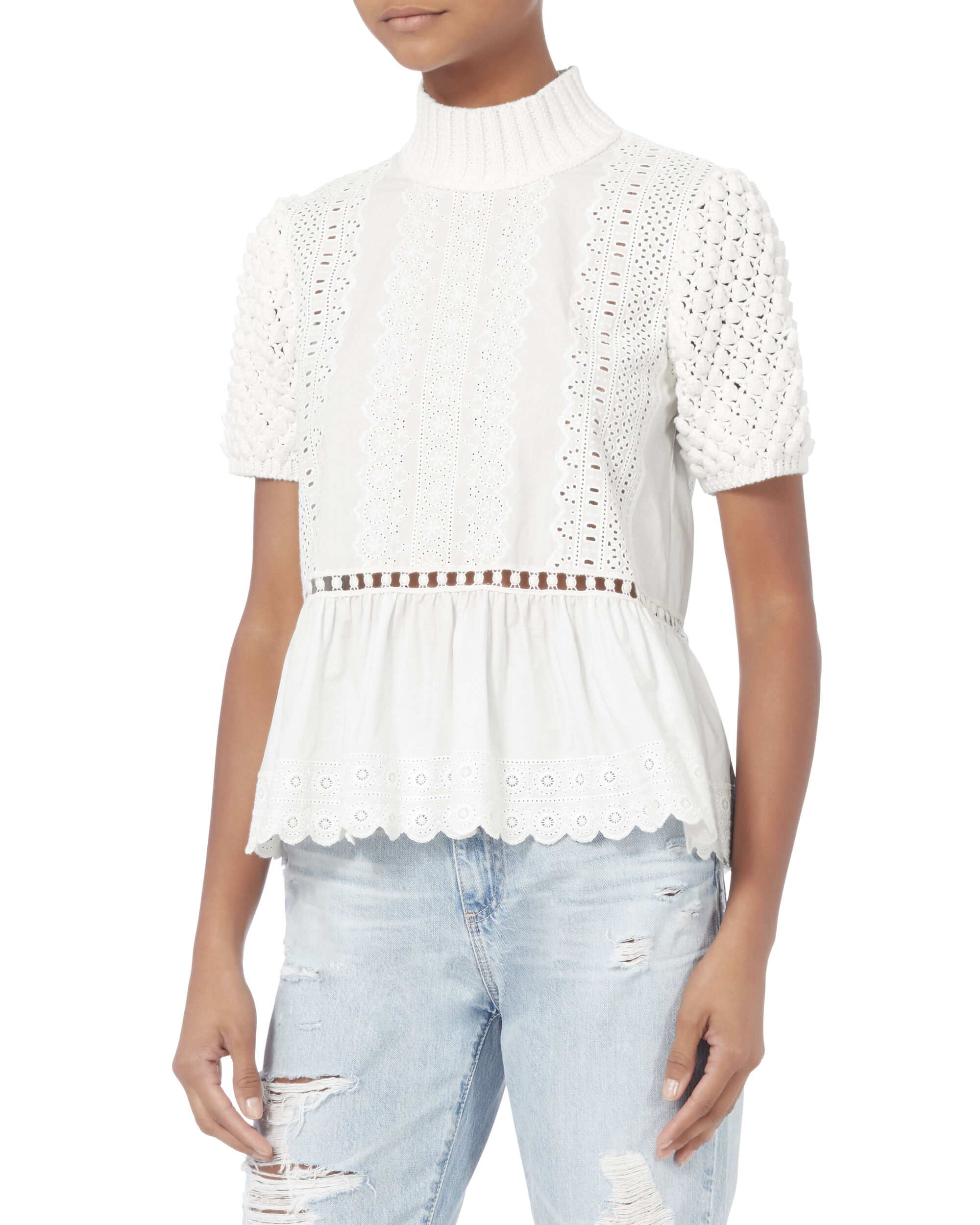 Embroidered Peplum Sweater, IVORY, hi-res