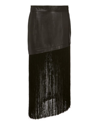 Fringe Hem Leather Mini Skirt, BLACK, hi-res