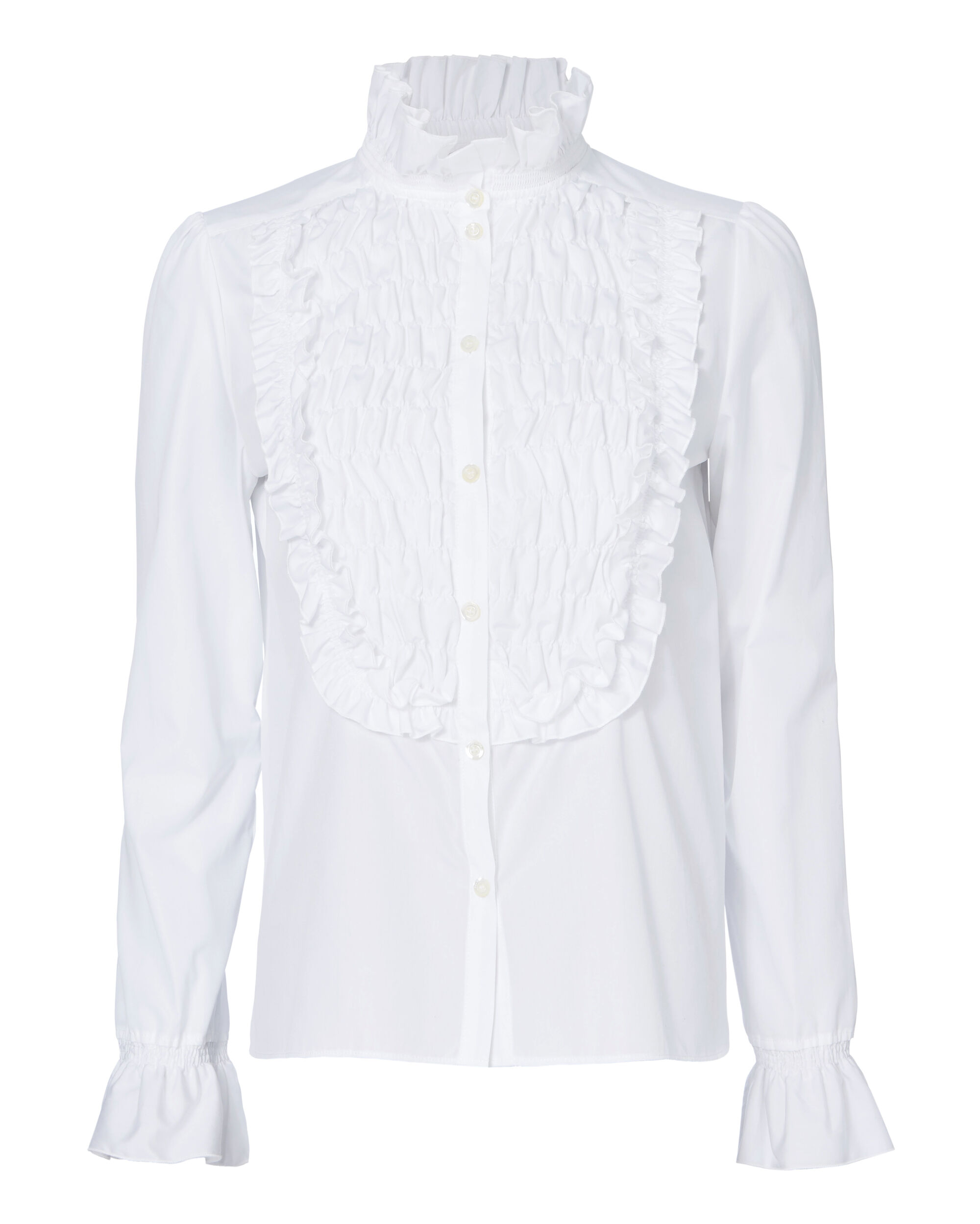 Smocked Bib Poplin Shirt, WHITE, hi-res