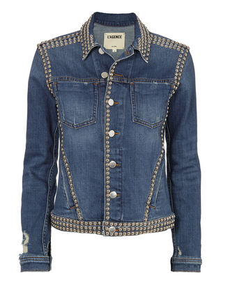 Celine Studded Jean Jacket, DENIM, hi-res