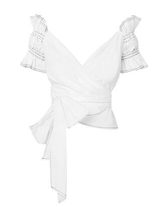 Ruched Off Shoulder Wrap Top, WHITE, hi-res