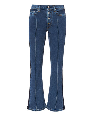 Two-Tone Crop Flare Jeans, DENIM, hi-res