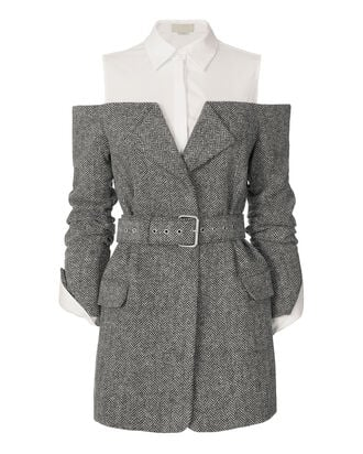 Belted Herringbone Jacket, GREY, hi-res