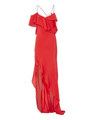 Poppy Asymmetrical Ruffle Gown, RED, hi-res