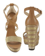 Portia Metallic Stripe Wedge Sandals, BROWN, hi-res