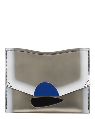 Stone Flap Leather Clutch, METALLIC, hi-res