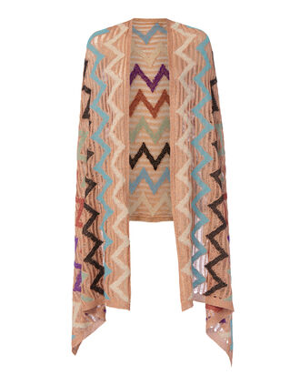 Rose Gold Zig Zag Poncho, METALLIC, hi-res