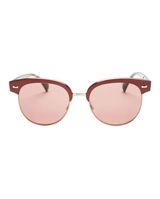 Shaelie Round Clubmaster Sunglasses, RED, hi-res