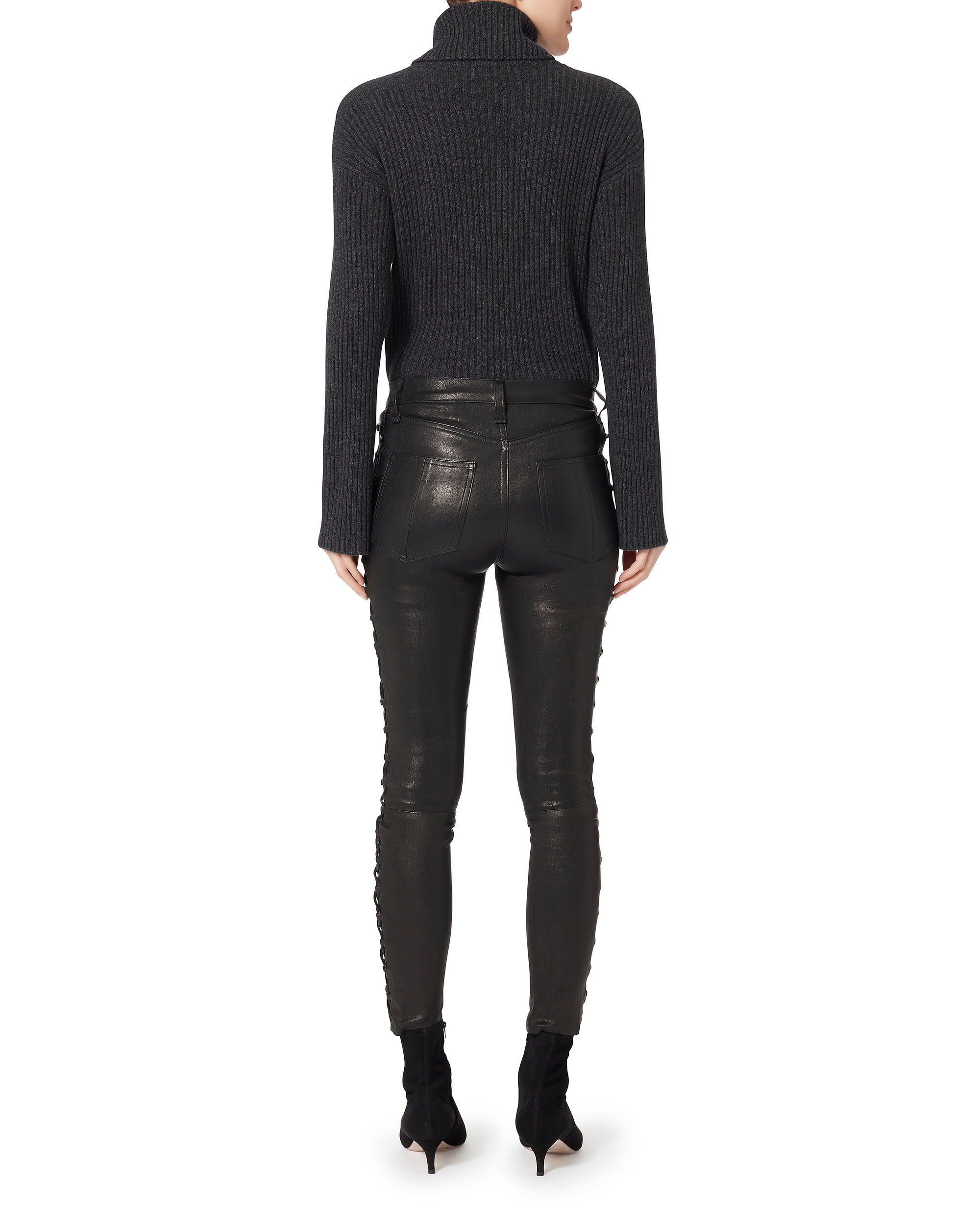 Kiku Side Lace-Up Leather Pants, BLACK, hi-res