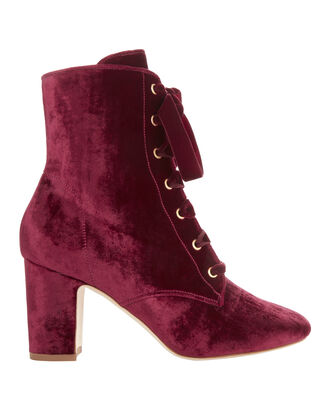 Ally Lace-Up Red Velvet Booties, RED-DRK, hi-res