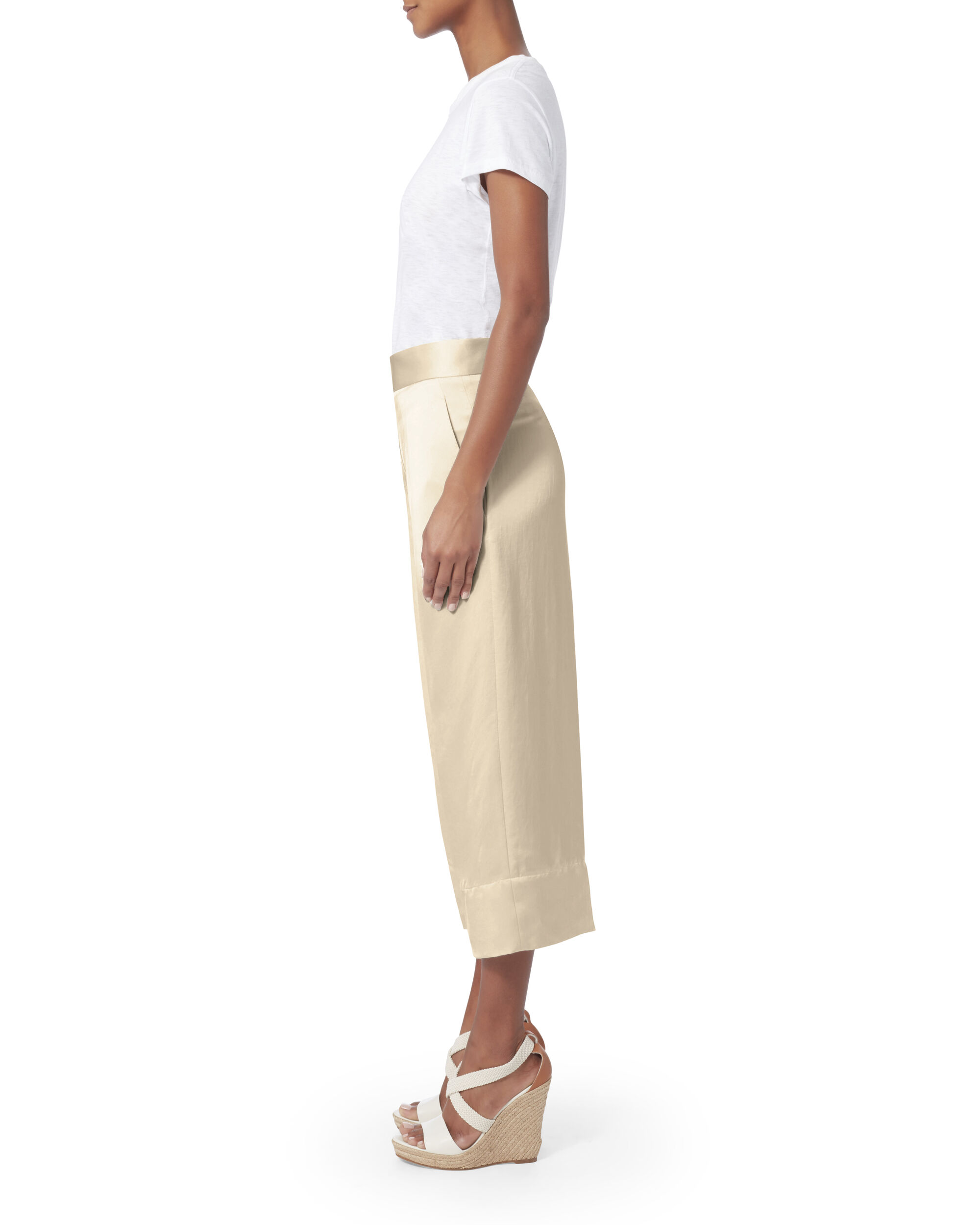 White Cropped Silk Trousers, WHITE, hi-res