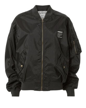 Cargo Pocket Logo Bomber Jacket, BLACK, hi-res