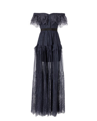 Off Shoulder Fine Lace Maxi Dress, NAVY, hi-res