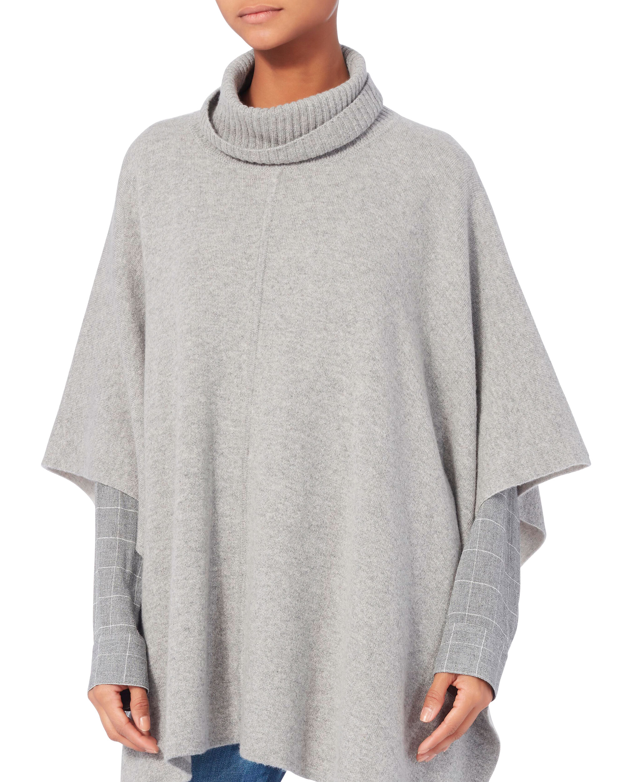Double-Face Turtleneck Poncho, GREY, hi-res