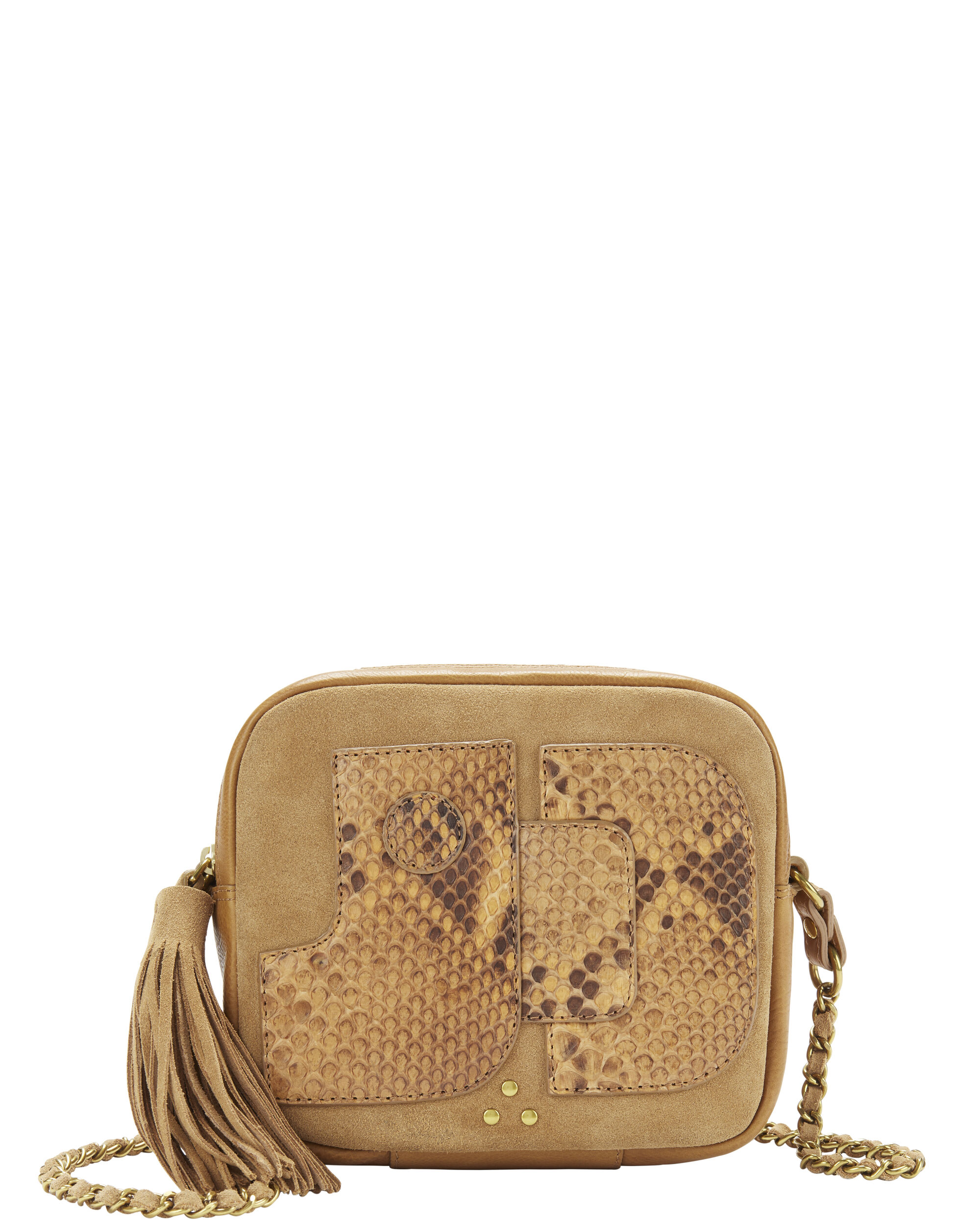 Pascal Python Detail Brown Crossbody Bag, BROWN, hi-res