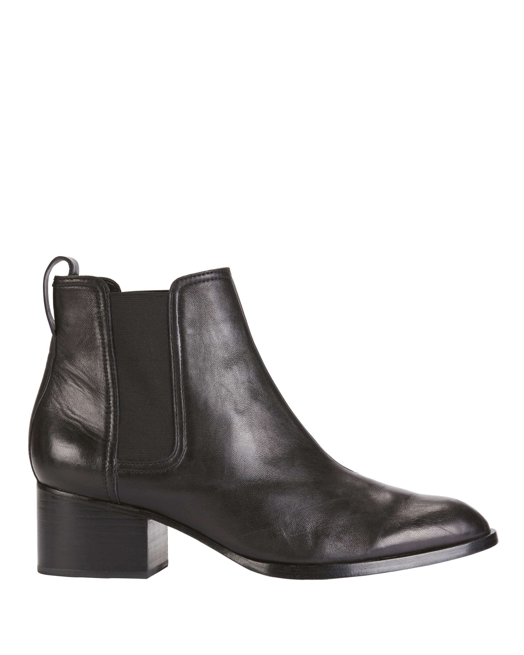 Walker Black Leather Booties, BLACK, hi-res