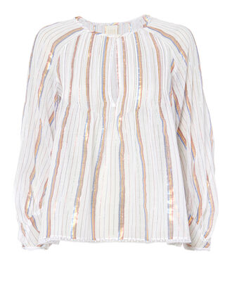 Angus Metallic Stripe Top, PATTERN, hi-res