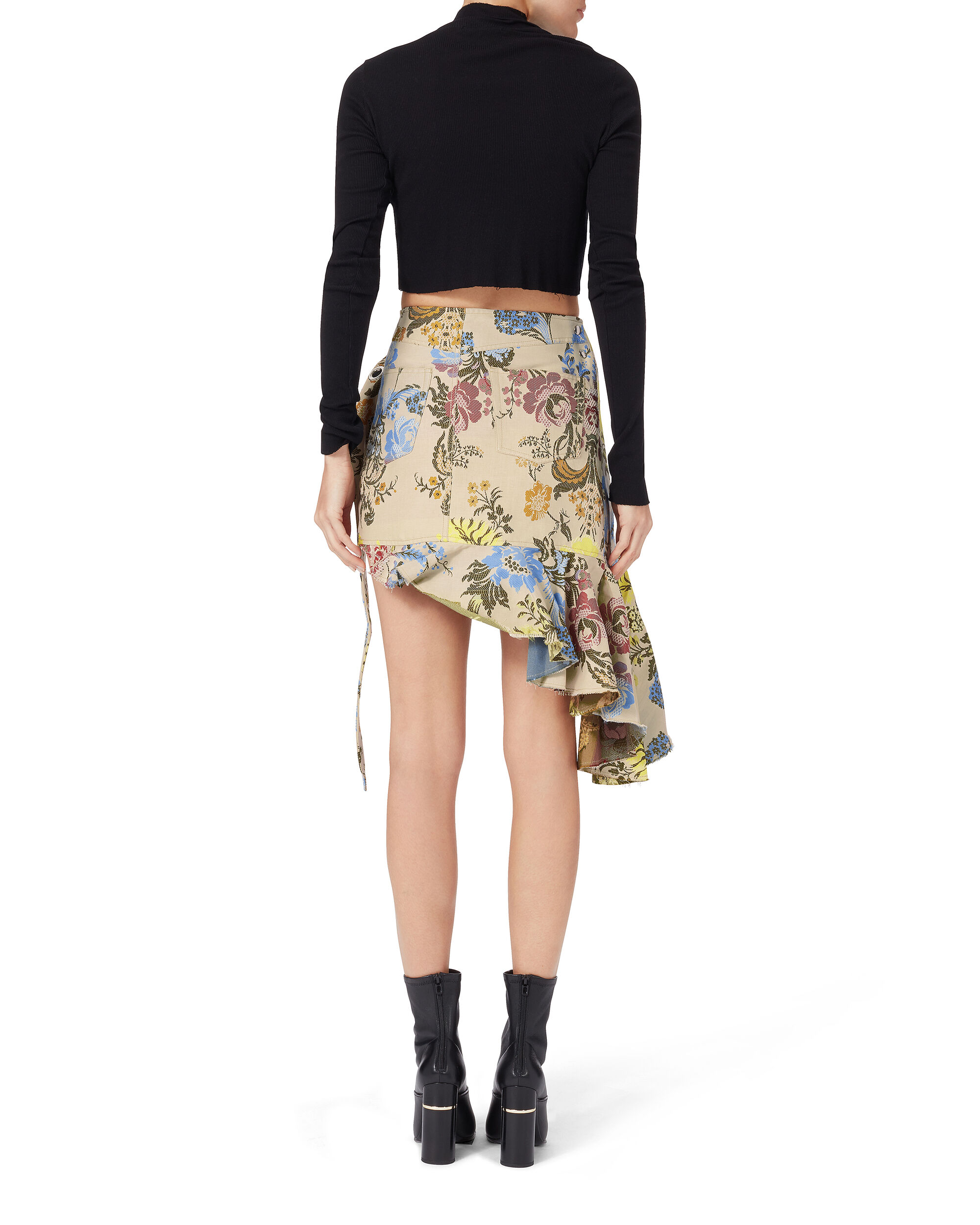 Floral Brocade Wrap Skirt, PRINT, hi-res