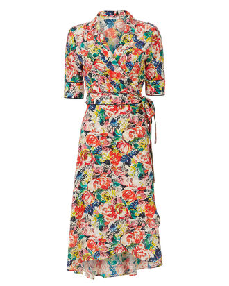 Maple Wrap Floral Dress, PRINT, hi-res