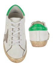 Superstar White and Gold Glitter Sneakers, WHITE, hi-res
