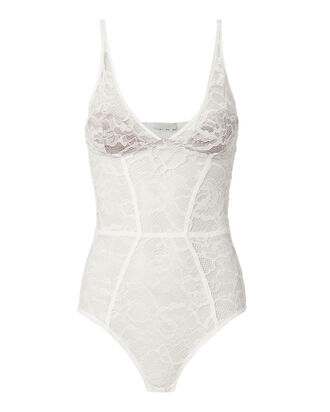 Chat White Lace Plunge Bodysuit, WHITE, hi-res
