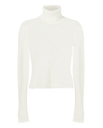 Open Knit Cropped Turtleneck Sweater
