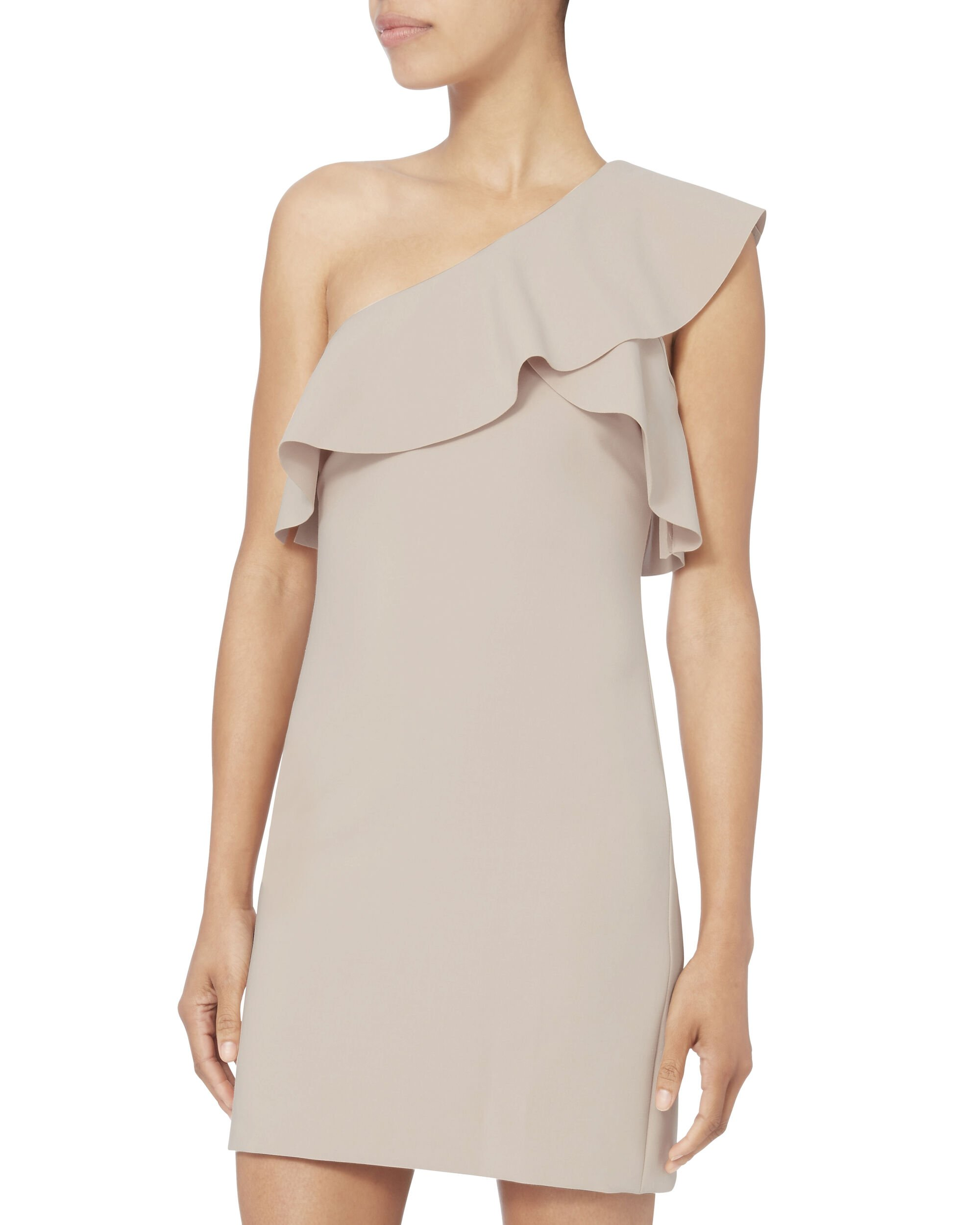 Jerard One Shoulder Ruffle Dress, BEIGE, hi-res