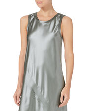 Lacquered Silk Tank Dress, SILVER, hi-res