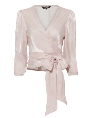 Tatjana Sheen Wrap Top, BLUSH, hi-res