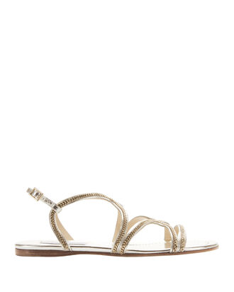 Nickel Strappy Flat Sandals, METALLIC, hi-res