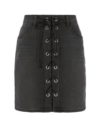 Portia Lace-Up Mini Skirt, BLACK, hi-res