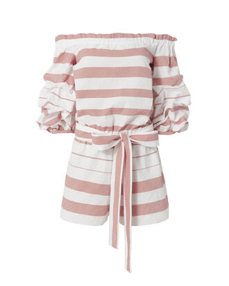 North Off-The-Shoulder Romper, STRIPE, hi-res