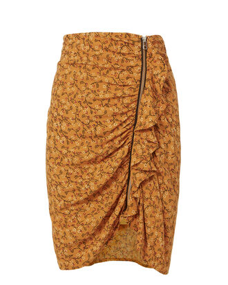 Spencer Ruched Zip Mini Skirt, YELLOW, hi-res