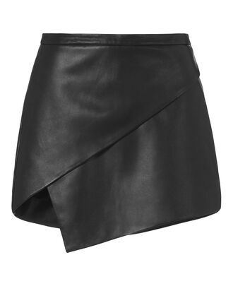 Asymmetric Leather Mini Skirt, BLACK, hi-res
